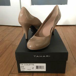 Tahari Tan Patent Leather Round Toe Colette Pumps